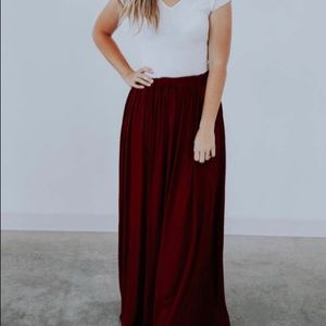 Ashley Lemieux Burgundy Maxi Skirt